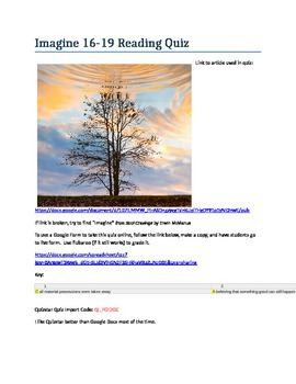 16-19 Reading Quiz- Search for Meaning - Imagine / ACT-SAT-CCR Test Practice
