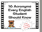 16 Acronyms Every English Student Should Know Printable Ch