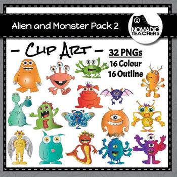 16 Aliens and Monsters Clip Art Pack 2