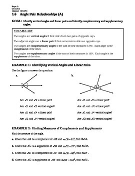 1.6 Angle Pair Relationships (A)