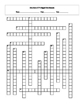 16 Answer Even More TV's Biggest News Moments Crossword with Key