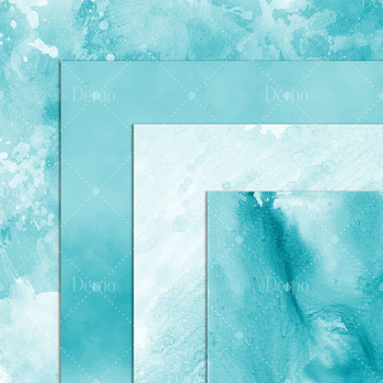 16 Artistic Teal Watercolor Texture Papers