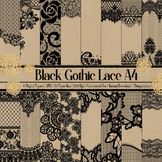 16 Black Gothic Lace Lacy Digital Papers A4 Size