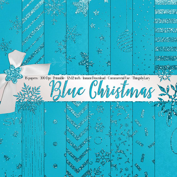 16 Blue Glitter Christmas Printable Digital Papers 12 inch