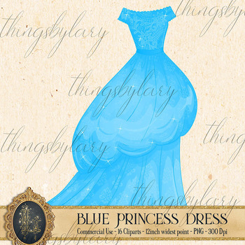 16 Blue Princess Dress Gown Fairy Tale Clip Arts Images