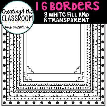 16 Borders (8 white filled and 8 transparent)