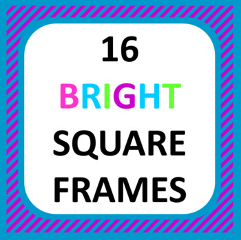 16 Bright Square Frames: Commercial use