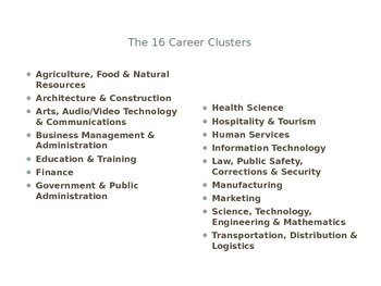 16 Career Clusters Introduction