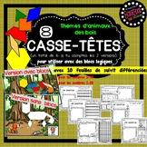 16 Casse-têtes pour faire avec des blocs logiques - Thème Animaux des bois -