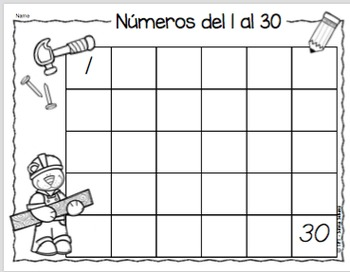 16 Centros de aprendizaje s para practicar escritura de números del 1 al 30