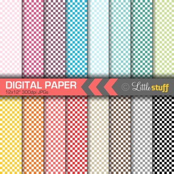 16 Checkered Digital Papers, Value Priced Checked Digital Backgrounds