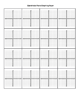 16 Coordinate Planes Graph Paper - with supporting location dots
