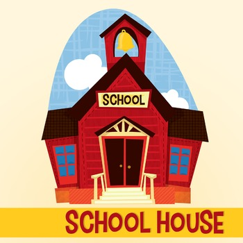 Cute Kids with Schoolhouse