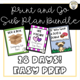 28 Days of Print and Go Sub Plans/Book Companions