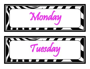 16 Days of the Week Bulletin Board Signs (Zebra and Hot Pink Themed)