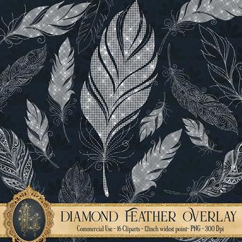 16 Diamond Feather Overlay Clip Arts, Boho Feather, Diamond