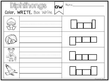 20 Diphthongs Color and Writing Worksheets. Kindergarten-1st Grade ELA.