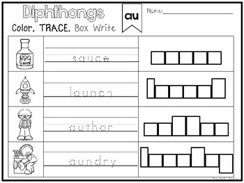 20 Diphthongs Color and Writing Worksheets. Kindergarten-1