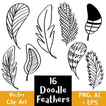 16 Doodle Feathers Hand Drawn Clipart | Tribal, Indian, Nature | PNG + Vector