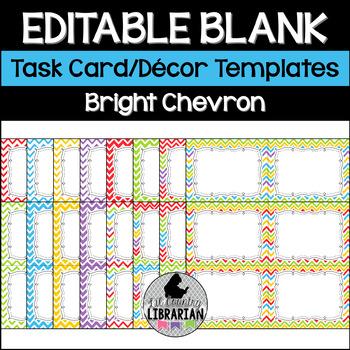 16 Editable Task Card Templates Bright Chevron (Landscape) PowerPoint
