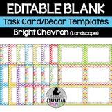 16 Editable Bright Chevron Task Card Decor Templates (Land