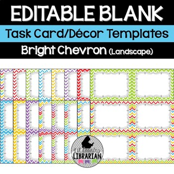 16 Editable Task Card Templates Bright Chevron (Landscape)