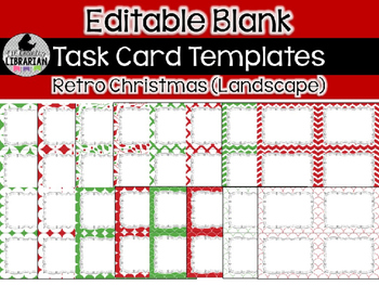16 Editable Task Card Templates Retro Christmas (Landscape) PowerPoint