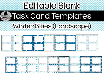 16 Editable Task Card Templates Winter Blues (Landscape) PowerPoint