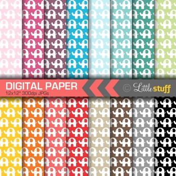 16 Elephant Digital Papers, Value Priced Elephant Digital Backgrounds