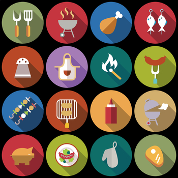 16 Flat Coloured Circle Icons - BBQ