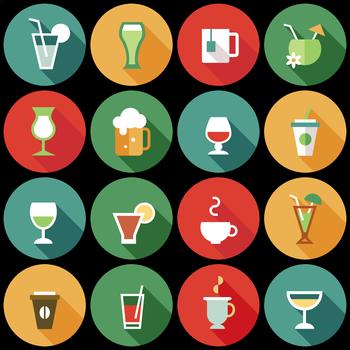 16 Flat Coloured Circle Icons - Beverages