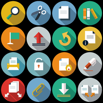 16 Flat Coloured Circle Icons - Documents