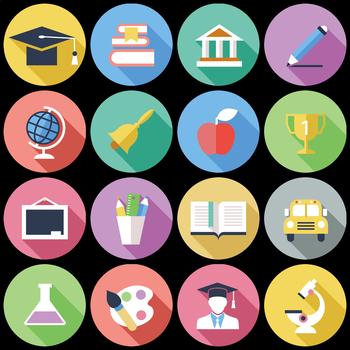 16 Flat Coloured Circle Icons - Education