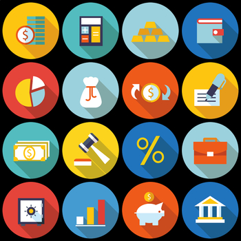 16 Flat Coloured Circle Icons - Finance