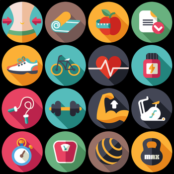 16 Flat Coloured Circle Icons - Fitness
