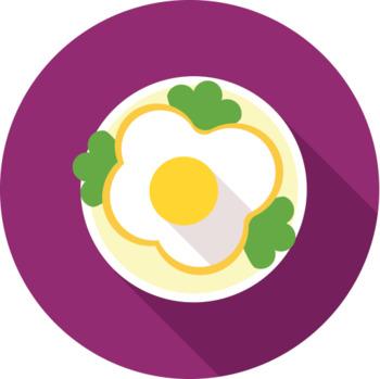16 Flat Coloured Circle Icons - Food