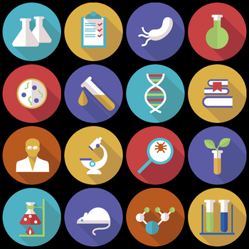 16 Flat Coloured Circle Icons - Science Research
