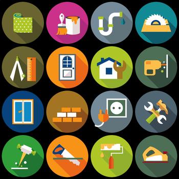 16 Flat Coloured Circle Icons - Home Repair