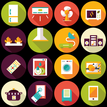 16 Flat Coloured Circle Icons - Household Appliances