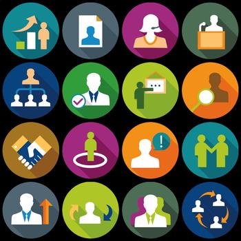 16 Flat Coloured Circle Icons - Human Management