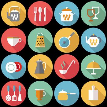 16 Flat Coloured Circle Icons - Kitchen