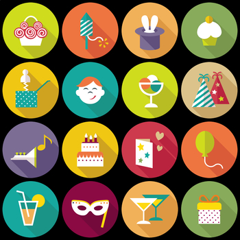 16 Flat Coloured Circle Icons - Party