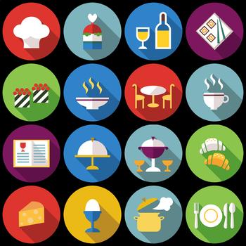16 Flat Coloured Circle Icons - Restaurant