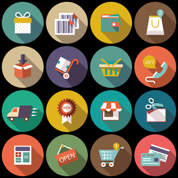16 Flat Coloured Circle Icons - Shopping