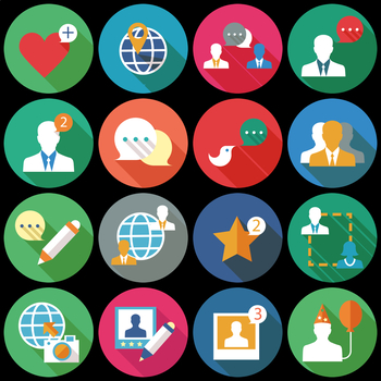 16 Flat Coloured Circle Icons - Social Network