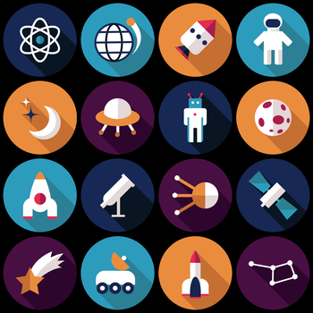 16 Flat Coloured Circle Icons - Space