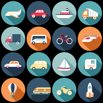16 Flat Coloured Circle Icons - Transport
