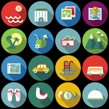 16 Flat Coloured Circle Icons - Travel #1