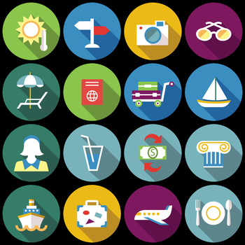 16 Flat Coloured Circle Icons - Travel #2