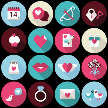 16 Flat Coloured Circle Icons - Valentine's Day